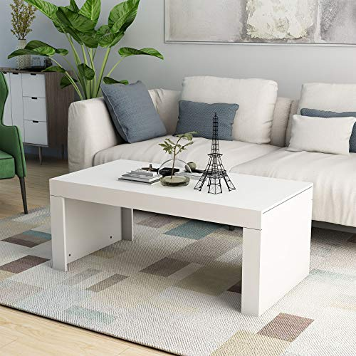 mecor White High Gloss Rectangle Coffee Table- Modern Stylish Design Side/End/Sofa Table for Living Room,120x60x50cm