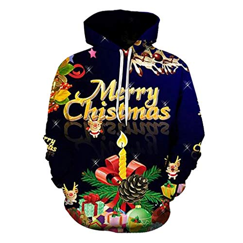 Dasongff Unisex kerstpullover grote maten Merry Christmas hoodie hoodie 3D capuchon pullover grappige pullover kerstpullover sweatshirts Kerstmis hoodie outwear S-6XL XXXXXL donkerblauw