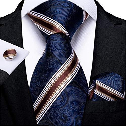 Zxcvbnm cravatta da uomo blu bianco a righe di seta cravatta nuziale per gli uomini di design Hanky gemelli di qualità uomini cravatta set business Mj-7321.