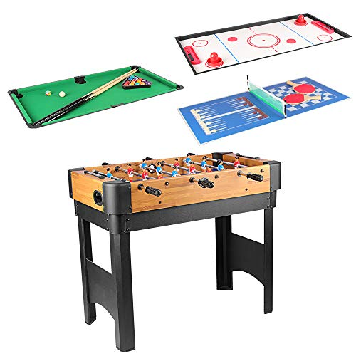 bigzzia 4 in 1 Multi Game Table, 36 inch Mini Pool Table Football with Telescopic Rods Table Tennis Glide Hockey Table Tabletop Toy For Adults Kids