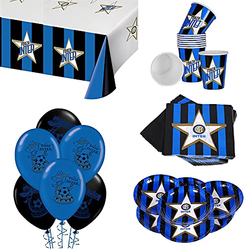 ocballoons Kit Festa Compleanno Party Inter 57pz per 8 Ospiti Set Addobbi e Decorazioni 8 Piatti 8 Bicchieri 20 tovaglioli 1 Tovaglia 20 Palloncini Bambino (8 Persone)