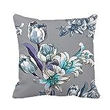 GOSMAO Nouvelle taie d'oreiller Peinture à la Main colorée Tulipes Blanches et Lillies Aquarelle Lblue décoration de la Taille du canapé Throw Pillow Cover