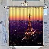 DRAGON VINES Cortina de ducha Paris at Night de 183 x 183 cm, impermeable, resistente al moho, con 12 ganchos de plástico, lavable, cortina de baño