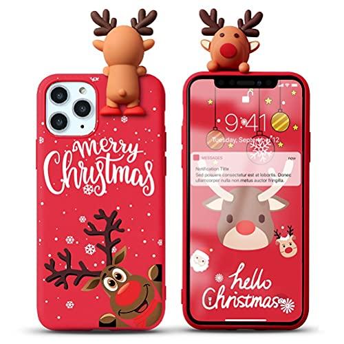 Yoedge Funda para Samsung Galaxy J6 Plus 6', Navidad Carcasa Silicona Rojo con Dibujos Animados 3D Doll Ciervo Toy, Suave Fina Antigolpes TPU Protector Case Cover para Samsung J6 Plus, Ciervo 8