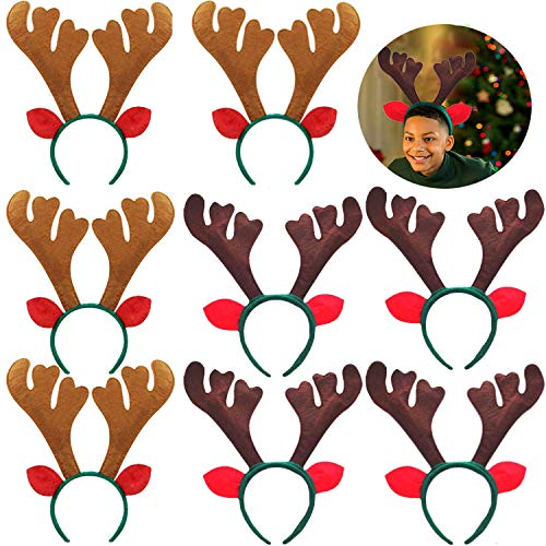 8 PCS Christmas Reindeer Antlers Headband Xmas Deer Horn Headband Hair Hoop Funny Cute Antler Headband with Ears for Christmas Holiday Festival Party