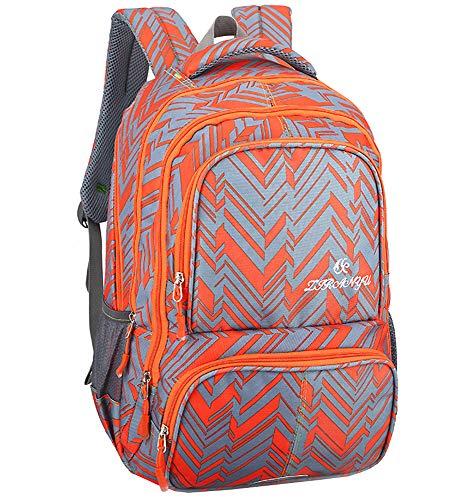 Lässige Rucksack - Studenten Büroangestellte praktische kühle Karierte Muster Daypack (Orange)
