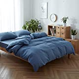 Denim Duvet Cover, 100% Yarn Dyed Washed Cotton 3 Pieces Bedding Set, Solid Color Casual Simple Style Chambray Duvet Cover, Luxury Relaxed Soft Feel Natural Wrinkled Easy Care (Denim Blue, Queen)