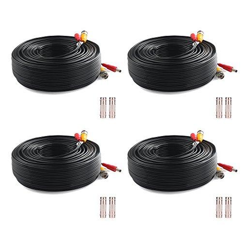 4 cables de seguridad para cámara de vídeo y alimentación BNC de 150 pies prefabricados con conectores de extensión BNC para sistema de vigilancia CCTV y DVR (4 unidades, 150 pies, negro)