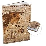 Logbuch-Verlag Cuaderno en blanco con diseño de mapamundi vintage, DIN A4, tapa dura – Diario, cuaderno de bocetos, libro de ideas, en blanco