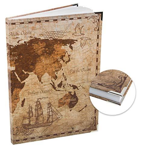 Logbuch-Verlag leeres Notizbuch Weltkarte Vintage DIN A4 Hardcover - Tagebuch Skizzenbuch Ideenbuch ohne Vorgaben blanko