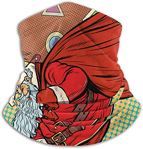 Linger In Papá Noel con una Maleta Sube al Cuello Calentador Sombreros Bufanda Facial Unisex