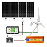 ECO-WORTHY Kit de generador de turbina eólica solar de 1000 vatios 24V: 1 pieza turbina eólica de 400 vatios + 4 piezas panel solar mono de 150W + 1 pieza controlador + 1 pieza inversor 3000W 24V