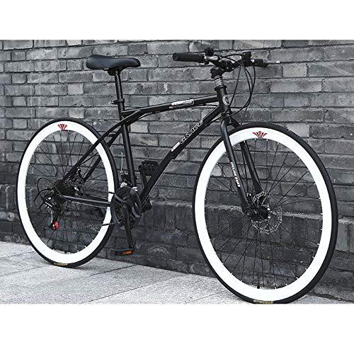 LIFHl 26 Pulgadas, Llantas de Bicicletas de montaña Trail Acero de Alto Carbono Outroad Bicicletas de Doble Freno de Disco Fat Tire Montaña Carril Bici for los Hombres Mujer Adolescentes Adultos