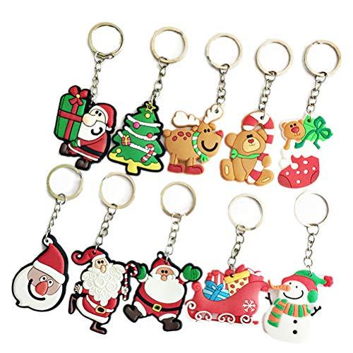 Fenical Schlüsselanhänger Weihnachten Thema Weich-PVC Schlüsselanhänger Kreative Anhänger Dekorationen für Autoschlüssel Geldbörse Tasche Geschenk 10 stücke
