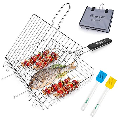 Number-one Grilling Basket Fish Grill Basket Portable Stainless Steel...