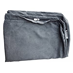 Dogbed4less 40X35X4 Inches XL Size : Suede Fabric External Replacement Cover in Grey Color with Zipper Liner for Dog Pet Bed Pillow or pad – Replacement Cover only