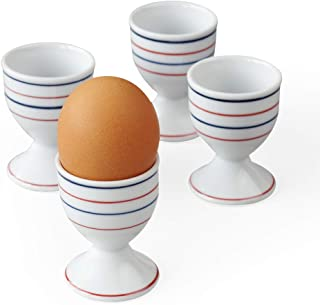 Cinf Ceramic Egg Cup Porcelain Egg Holder Stripe Design Breakfast Boiled Egg Cooking Tools,Stable and Easy to Clean, Child...