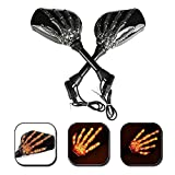 OKSTNO LED Skull Skeleton Hand Claw Side Mirrors Rearview Mirrors With Turn Signals For Motorcycle with 8mm 10mm Thread Bolts, Left & Right