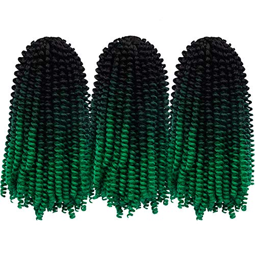 ARIETIS Hair 12 Inch 3 Pack Spring Twist Crochet Braiding Ombre Colors Bomb Spring Well Low Temperature Kanekalon Synthetic Fiber Fluffy Hair Extensions(30 Strands,160g/Pack,1B/Dark Gray/Green#)