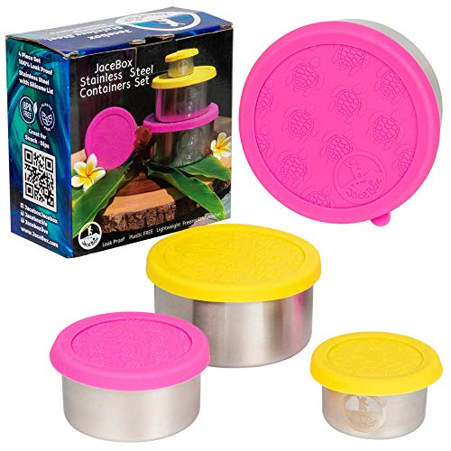 JaceBox Snack Containers for Kids - Stainless Steel Food Containers Leak proof Plastic FREE Silicone Lid Turtle Design by JaceBox
