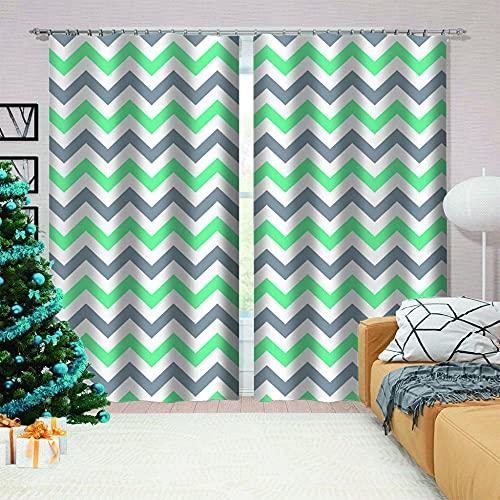 LJUKO Cortina Opaca en Cocina el Salon dormitorios habitación Infantil 3D Impresión Digital Ojales Cortinas termica - 183x214 cm - Rayas Negras Verdes geométricas