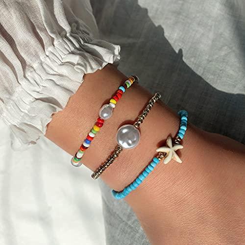 Branets Pulsera de perlas de colores bohemios, cadena de mano de estrellas de mar, ajustable, para...