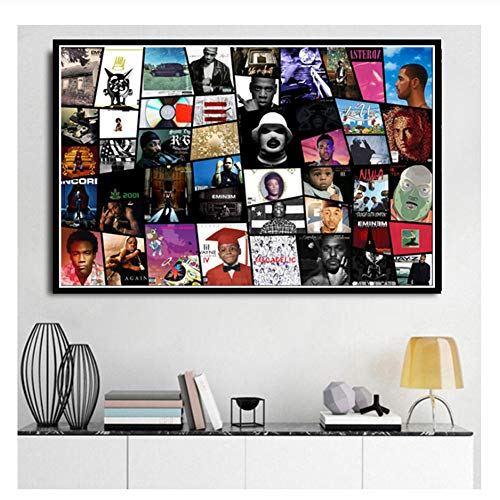 Suuyar Rap Music Star NWA Big J Cole Drake Poster Prints Collage Hip Hop Albums Painting Art Wall Pictures for Living Room Home Decor-60x80cm No Frame