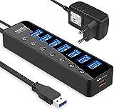 Atolla Hub USB 3.0 alimenté Multiprise, 7-Port Hub USB avec Commutateurs Individuels et 5V/4A 20W Adaptateur Alimentation