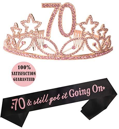 70th Birthday Gifts for Woman, 70th Birthday Tiara and Sash pink, HAPPY 70th Birthday Party Supplies, 70 & Fabulous Glitter Satin Sash and Crystal Tiara Birthday Crown for 70th Birthday Party Supplies