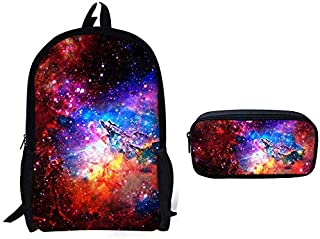 Children's bag/Starry 3D Print Stylish and Interesting Schoolbag + Pencil Case Set A-OneSize (Color : A, Size : OneSize)