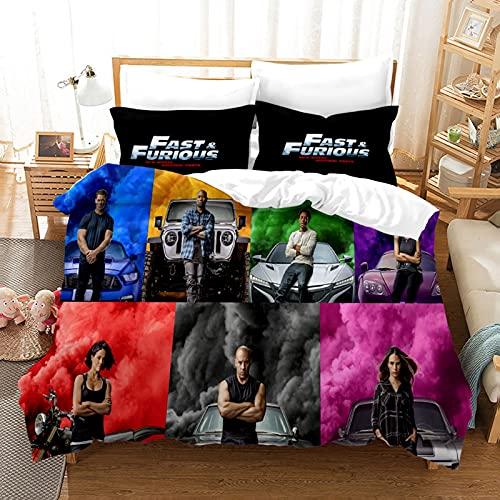 ZJJIAM Fast and Furious Ropa de cama 135 x 200, niños y niñas, ropa de cama de microfibra, 1 funda nórdica y 2 fundas de almohada (7,135 x 200 cm + (80 x 80 cm)