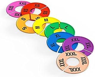 Discount Sizing 16 Piece Set Colored Clothing Round Rack Size Dividers XXS - XXXL (2 Pieces Per Size)