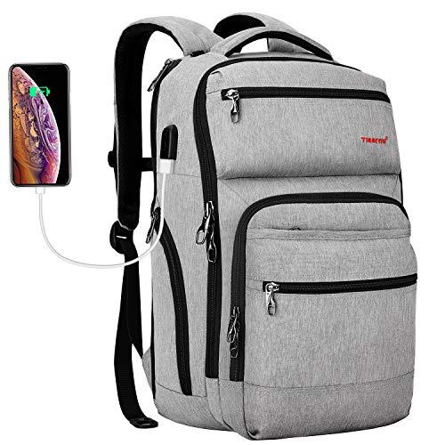 Tigernu Travel Laptop Backpack Business Anti Theft Slim Backpacks with USB Charging Port Water Resistant Bookbag for Women & Men Fits 15.6 Inch Laptop(Grey)