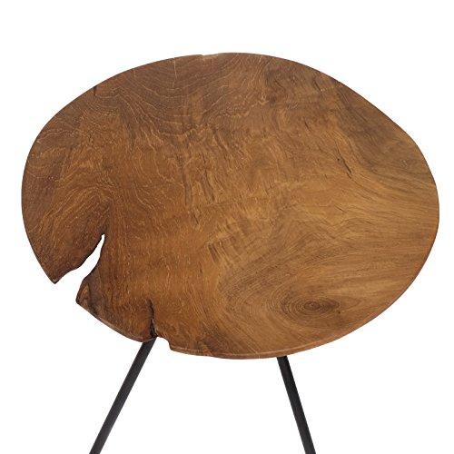 Brillibrum Design Teakholz Beistelltisch Dreibeintisch Tischplatte Aus Teak Blumenhocker Couchtisch Massiv Dunkel Kaffeetisch 39,5cmø (außergewöhnlich)