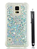 S5 Case Glitter, Cattech Liquid Bling Sparkle Shiny Moving Quicksand - Slim Clear TPU Bumper Protective Non-slip Grip Phone Shockproof Case Cover for Samsung Galaxy S5 + Stylus (Silver)