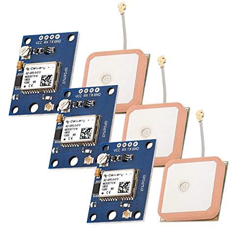 AZDelivery 3 x AZ-GPS Modul mit EEPROM für Raspberry Pi und PC, kompatibel mit Arduino mit Keramik-Aktiv-Antenne APM2.0 / APM2.5 und inklusive E-Book!
