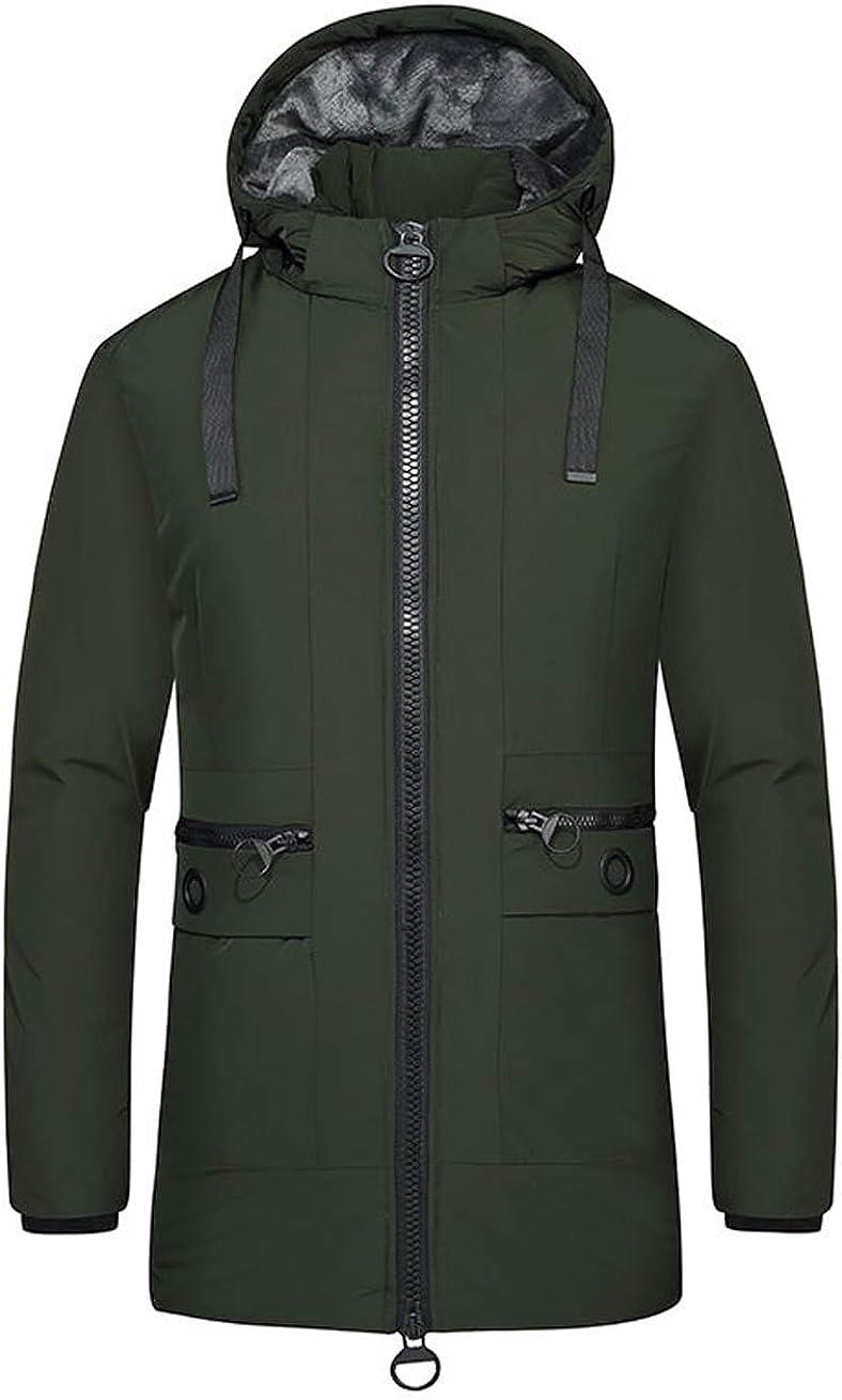 chouyatou Men's Casual Hip Length Padded Hooded Down Jacket Winter Parka Coat