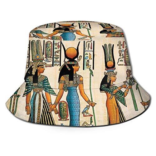 Lawenp Gorra de Cubo Plegable para Hombre, Vintage nostálgico, Mural Egipcio, Verano, Transpirable, Pescador, Sombrero para el Sol, Sombrero de Caza para Mujeres y Hombres