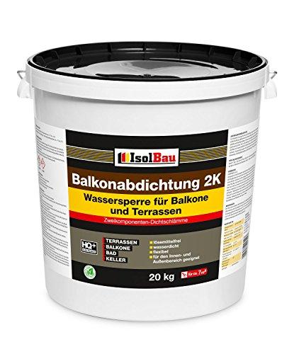 Isolbau 20kg Balkonabdichtung Dichtschlämme 2-K Abdichtung Terrasse Balkone Bad Keller Dusche