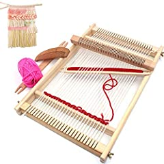 👍Pure natural wood material, eco-friendly, no-toxic, durable and delicate. Package include: weaving loom, shuttle, brush, bundle of woolen yarn 👍Polish wooden material make it use comfortable and prevent kids from hurting. 👍Metal screw regulator make...