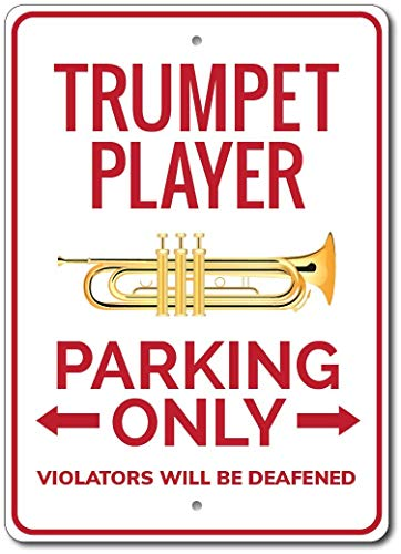 Trompetenspieler Parkschild Trompetenspieler Schild Trompetenspieler Geschenk Trompete Trompete Deko Trompete Geschenk Neuheit Türschild Metall Blechschild Home Street Deko Schild