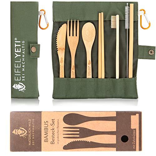 EifelYeti | hochwertiges Bambus Besteck Set - perfekt geeignet zum wandern und Reisen | Inklusive gratis Bambus Zahnbürste und Karabiner
