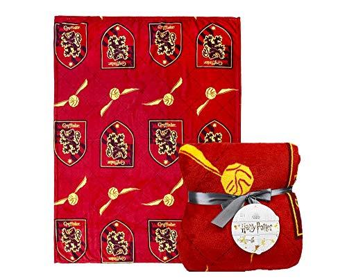 Harry Potter Manta, Manta de Gryffindor, Diseño de Hogwarts, Manta de Sofá Cama, Forro Polar Suave y Cálida, Regalo de Harry Potter, 120 x 160 cm