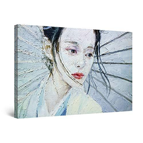 Startonight Cuadro Moderno en Lienzo - Mujer Japonesa - Pintura Abstracta para Salon Decoración 60 x 90 cm
