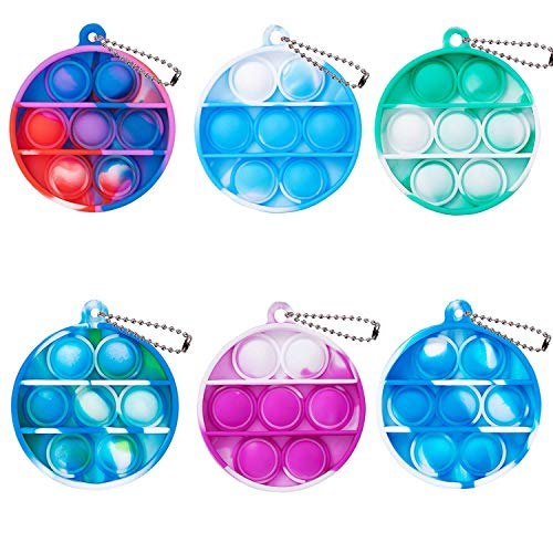 ZNNCO Tie-dye Push pop Bubble Fidget Toy, Mini Keychain Toy, Anxiety Stress Reliever Hand Toys, Squeeze Sensory Toys to Relieve Emotional Stress for Kids Adults (Round)