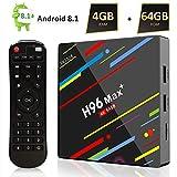[Android 8.1 TV Box] H96 Max+ Smart TV Box 4GB+64GB RK3328 Quad Core 64Bit CPU Boîtier TV, 2019 Nouveau Set Top Box Support 4K Ultra HD 2.4G/5GHz WiFi 100M LAN 3D H.265 Bluetooth