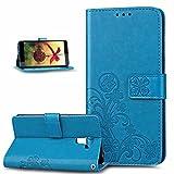 Kompatibel mit Huawei Honor 7 Hülle,Huawei Honor 7 Handyhülle,Prägung Klee Blumen PU Lederhülle Flip Hülle Cover Schale Ständer Wallet Hülle Handyhülle Schutzhülle für Huawei Honor 7,Klee Blumen:Blau