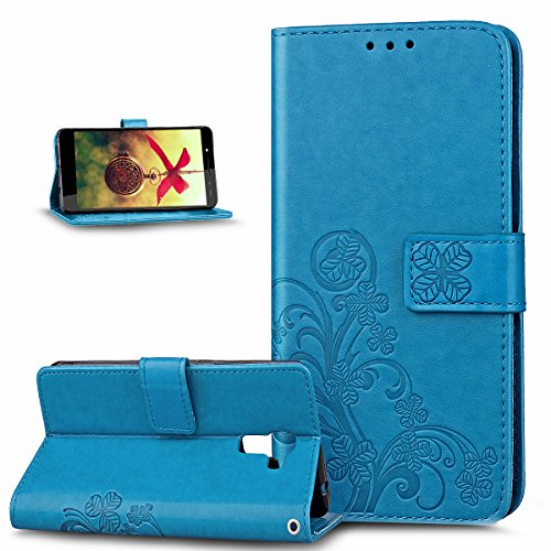 Coque Huawei Honor 7,Etui Huawei Honor 7,Gaufrage Trèfle Fleur Floral Motif Housse Cuir PU Housse Etui Coque Portefeuille Protection supporter Flip Case Etui Housse Coque pour Huawei Honor 7,Bleu