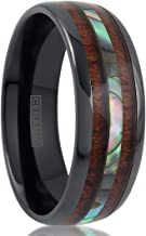 King's Cross Personalized Engraved Hi-Tech 8mm Gunmetal Black Ceramic Wedding Band w/Abalone & Koa Wood