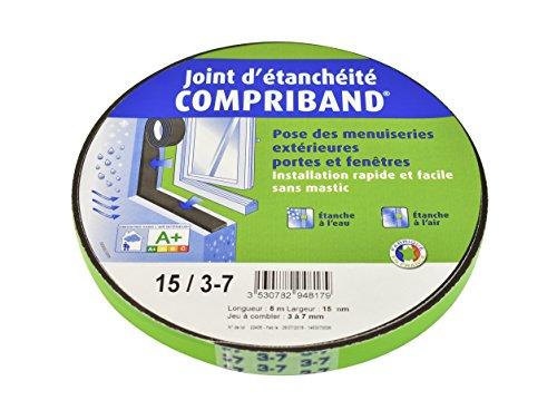 Joint Compriband 600 étanche à l'eau et à l'air de 3 à 7 mm pour portes et fenêtres Largeur 15 mm Rouleau 8 m